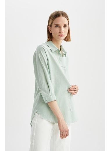 DeFacto Oversize Fit Tek Cepli Tunik Gömlek Yeşil